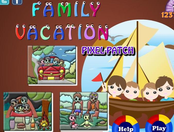 family vacation pixel patch flash game